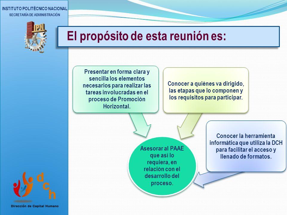INSTITUTO POLITÉCNICO NACIONAL SECRETARÍA DE ADMINISTRACIÓN Proceso de Promoción Horizontal del PAAE 2013 (Evaluación al Desempeño 2012) ¡Bienvenidos!