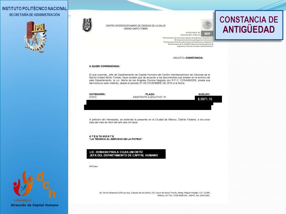 INSTITUTO POLITÉCNICO NACIONAL SECRETARÍA DE ADMINISTRACIÓN CONSTANCIAS DE CURSOS