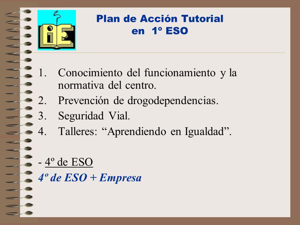 Plan de Acción Tutorial en 1º ESO 1.Conocimiento del funcionamiento y la normativa del centro. 2.Prevención de drogodependencias. 3.Seguridad Vial. 4.