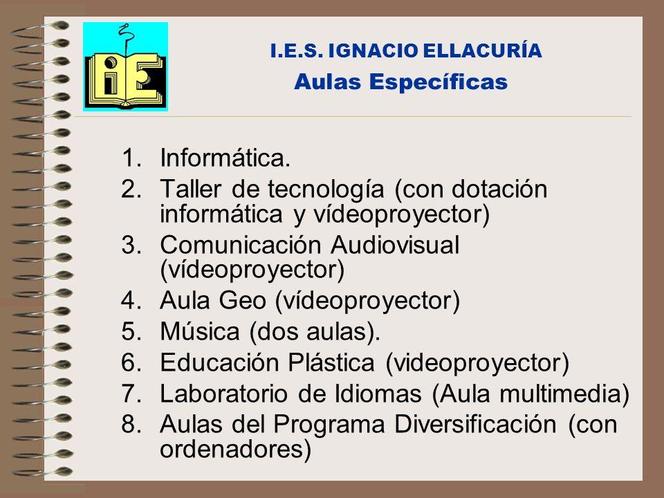 Aulas Específicas 1.Informática. 2.Taller de tecnología (con dotación informática y vídeoproyector) 3.Comunicación Audiovisual (vídeoproyector) 4.Aula