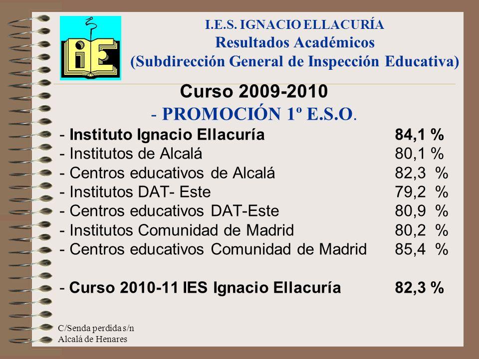 C/Senda perdida s/n Alcalá de Henares Curso 2009-2010 - PROMOCIÓN 1º E.S.O. - Instituto Ignacio Ellacuría 84,1 % - Institutos de Alcalá80,1 % - Centro