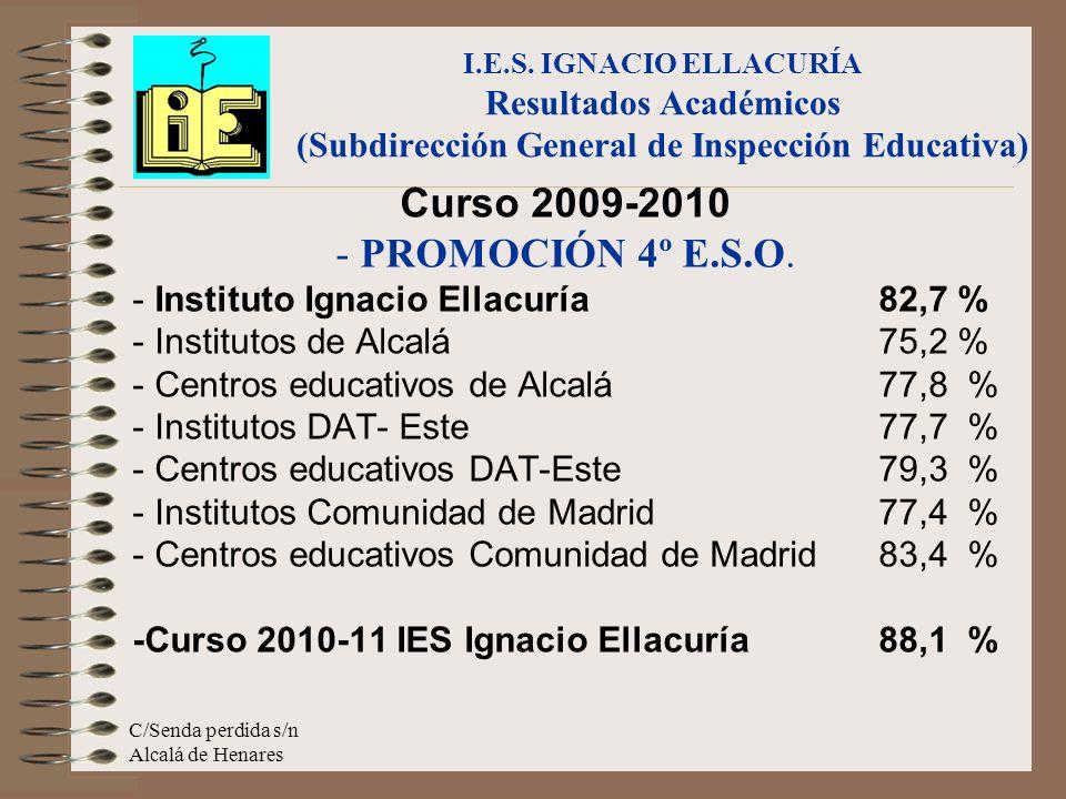 C/Senda perdida s/n Alcalá de Henares Curso 2009-2010 - PROMOCIÓN 4º E.S.O. - Instituto Ignacio Ellacuría 82,7 % - Institutos de Alcalá75,2 % - Centro