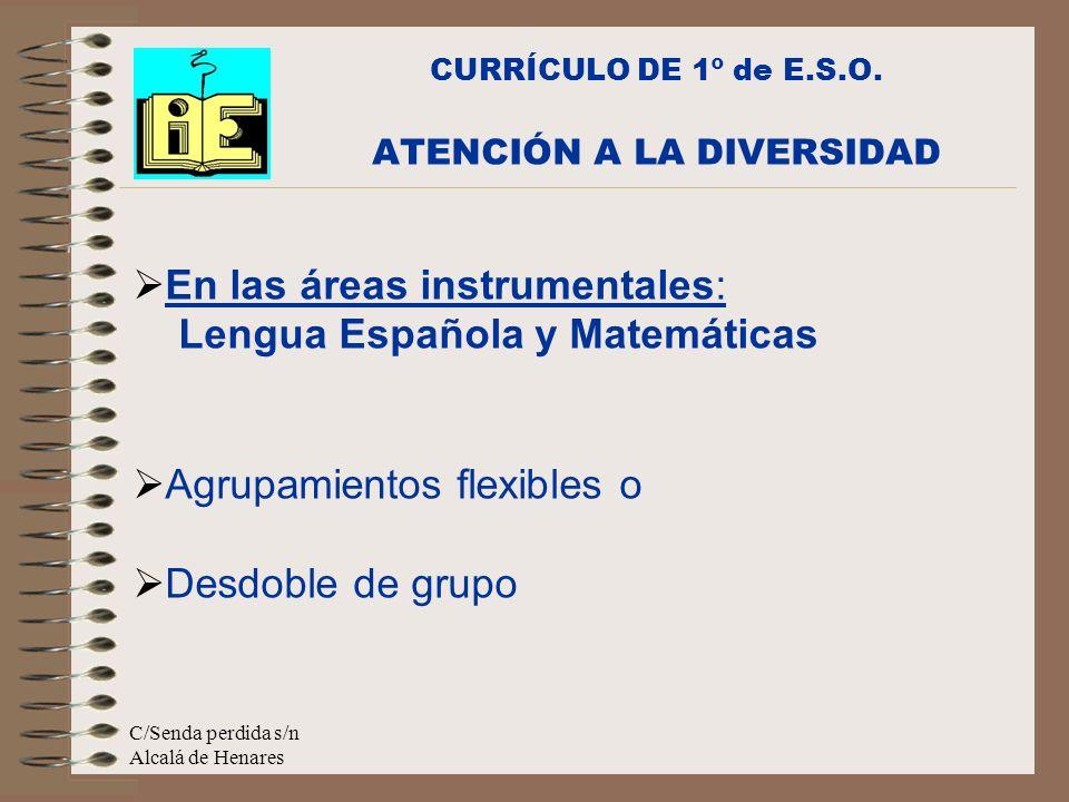 C/Senda perdida s/n Alcalá de Henares En las áreas instrumentales: Lengua Española y Matemáticas Agrupamientos flexibles o Desdoble de grupo CURRÍCULO