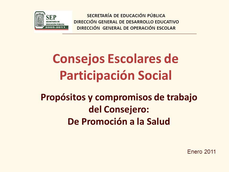 Consejos Escolares de Participación Social Propósitos y compromisos de trabajo del Consejero: De Promoción a la Salud SECRETARÍA DE EDUCACIÓN PÚBLICA