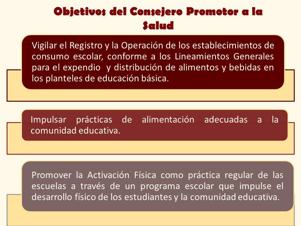 Objetivos del Consejero Promotor a la Salud Vigilar el Registro y la Operación de los establecimientos de consumo escolar, conforme a los Lineamientos