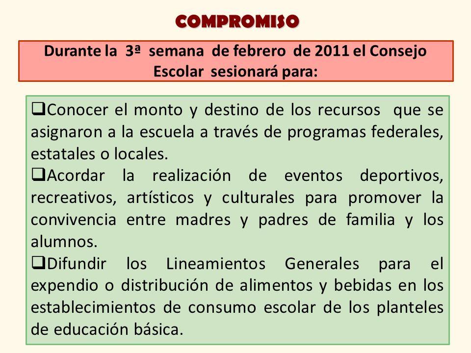 COMPROMISO Durante la 3ª semana de febrero de 2011 el Consejo Escolar sesionará para: Conocer el monto y destino de los recursos que se asignaron a la