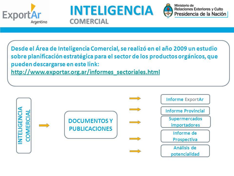 INTELIGENCIA COMERCIAL DOCUMENTOS Y PUBLICACIONES Informe ExportAr Informe Provincial Supermercados importadores Informe de Prospectiva Análisis de potencialidad INTELIGENCIA COMERCIAL Desde el Área de Inteligencia Comercial, se realizó en el año 2009 un estudio sobre planificación estratégica para el sector de los productos orgánicos, que pueden descargarse en este link: http://www.exportar.org.ar/informes_sectoriales.html http://www.exportar.org.ar/informes_sectoriales.html
