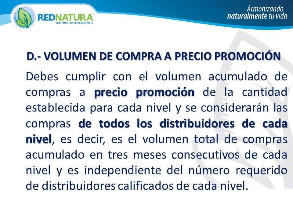 D.- VOLUMEN DE COMPRA A PRECIO PROMOCIÓN D.- VOLUMEN DE COMPRA A PRECIO PROMOCIÓN precio promoción de todos los distribuidores de cada nivel Debes cum