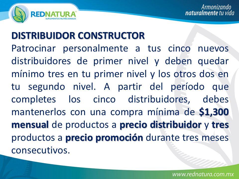 DISTRIBUIDOR CONSTRUCTOR $1,300 mensualprecio distribuidor tres precio promoción Patrocinar personalmente a tus cinco nuevos distribuidores de primer
