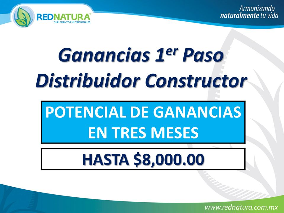 Ganancias 1 er Paso Distribuidor Constructor POTENCIAL DE GANANCIAS EN TRES MESES HASTA $8,000.00