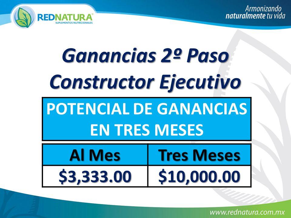 Ganancias 2º Paso Constructor Ejecutivo POTENCIAL DE GANANCIAS EN TRES MESES Al Mes Tres Meses $3,333.00 $10,000.00