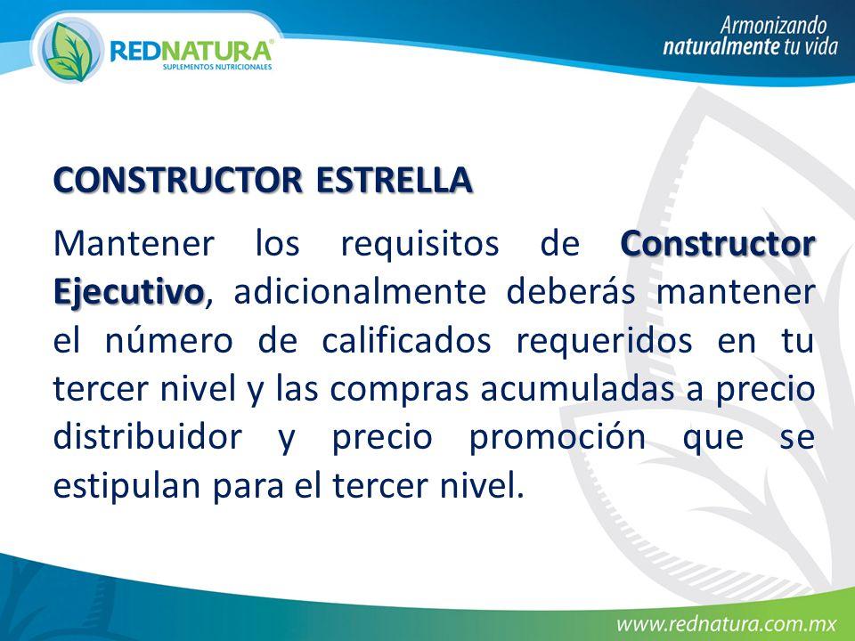 CONSTRUCTOR ESTRELLA Constructor Ejecutivo Mantener los requisitos de Constructor Ejecutivo, adicionalmente deberás mantener el número de calificados