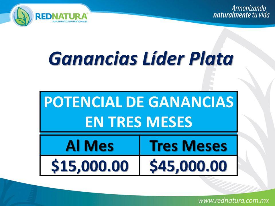 Ganancias Líder Plata POTENCIAL DE GANANCIAS EN TRES MESES Al Mes Tres Meses $15,000.00 $45,000.00