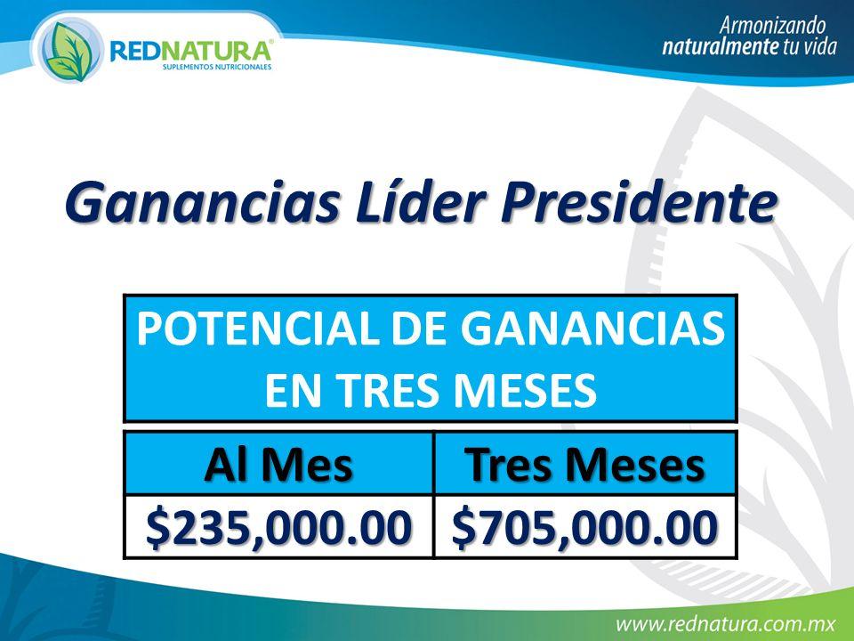 Ganancias Líder Presidente POTENCIAL DE GANANCIAS EN TRES MESES Al Mes Tres Meses $235,000.00 $705,000.00