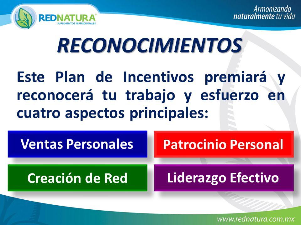 Este Plan de Incentivos premiará y reconocerá tu trabajo y esfuerzo en cuatro aspectos principales: RECONOCIMIENTOS Creación de Red Ventas Personales Patrocinio Personal Liderazgo Efectivo