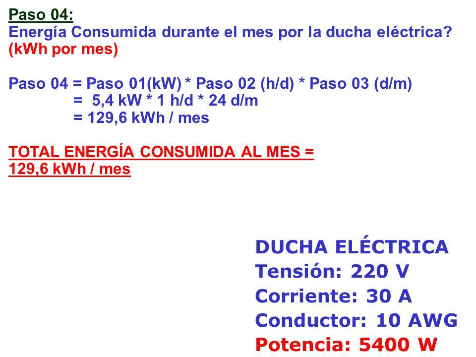 Paso 05: Costo mensual por la ducha eléctrica.(S/./mes) (Costo Tarifa Eléctrica = 0,30 S/.