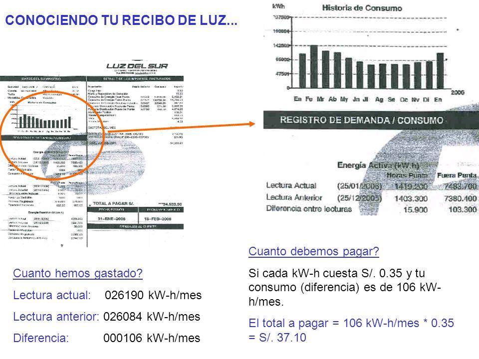 CONOCIENDO TU RECIBO DE LUZ... Cuanto hemos gastado? Lectura actual: 026190 kW-h/mes Lectura anterior: 026084 kW-h/mes Diferencia: 000106 kW-h/mes Cua