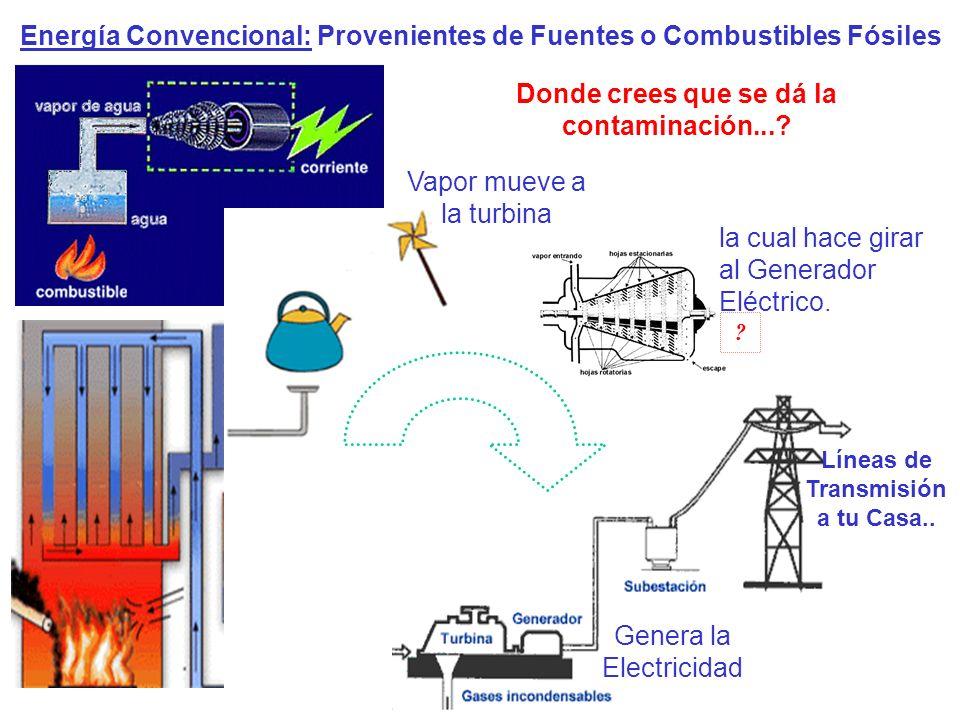 01) La caída del agua hace girar Turbina.02) La Turbina hace girar al Generador Eléctrico.