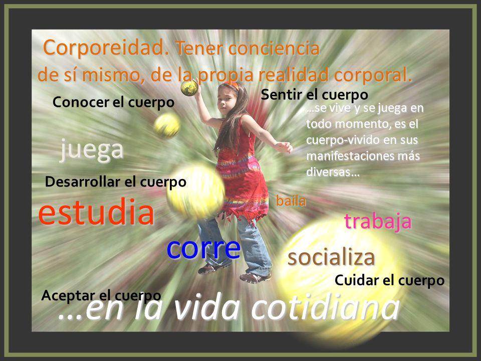 Corporeidad. Tener conciencia Corporeidad. Tener conciencia de sí mismo, de la propia realidad corporal. juega baila corre estudia trabaja …en la vida