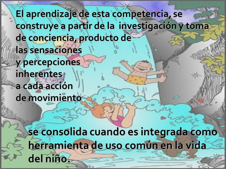 se consolida cuando es integrada como herramienta de uso común en la vida del niño. El aprendizaje de esta competencia, se construye a partir de la in