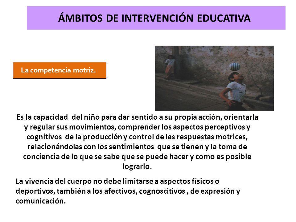 ÁMBITOS DE INTERVENCIÓN EDUCATIVA La competencia motriz. Es la capacidad del niño para dar sentido a su propia acción, orientarla y regular sus movimi