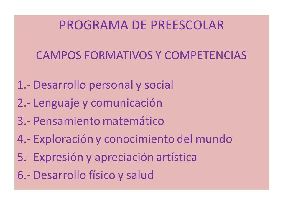 PROGRAMA DE PREESCOLAR CAMPOS FORMATIVOS Y COMPETENCIAS 1.- Desarrollo personal y social 2.- Lenguaje y comunicación 3.- Pensamiento matemático 4.- Ex