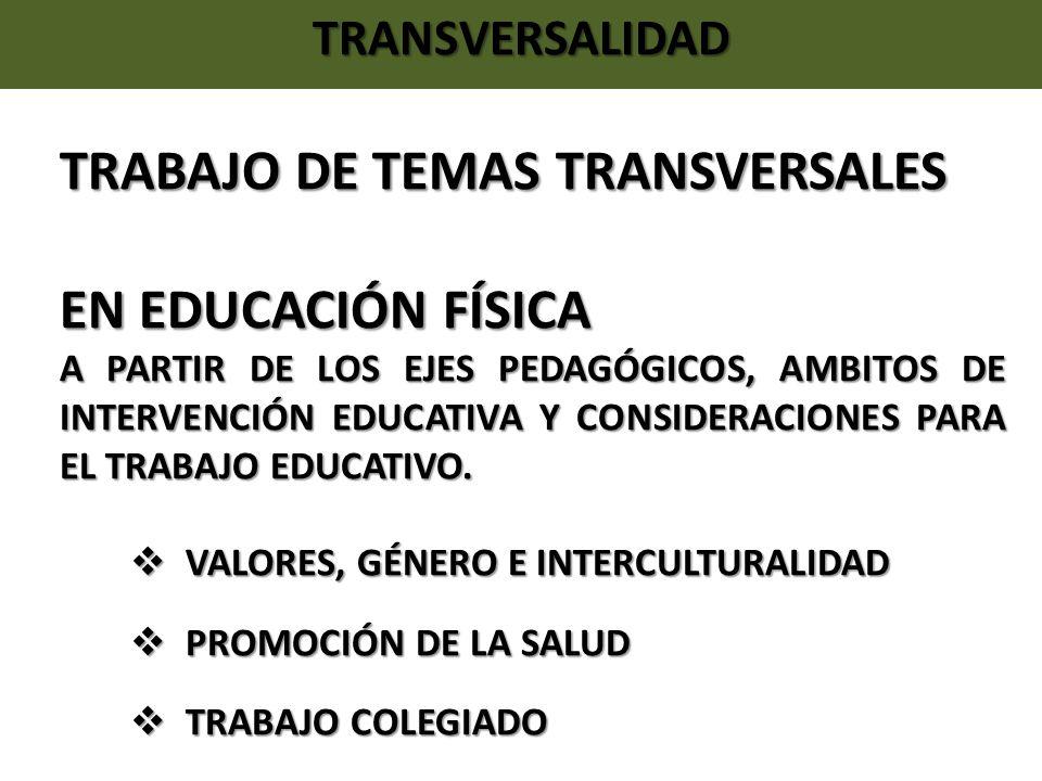 TRANSVERSALIDAD TRABAJO DE TEMAS TRANSVERSALES EN EDUCACIÓN FÍSICA A PARTIR DE LOS EJES PEDAGÓGICOS, AMBITOS DE INTERVENCIÓN EDUCATIVA Y CONSIDERACION