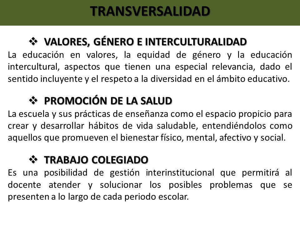 TRANSVERSALIDAD VALORES, GÉNERO E INTERCULTURALIDAD VALORES, GÉNERO E INTERCULTURALIDAD La educación en valores, la equidad de género y la educación i