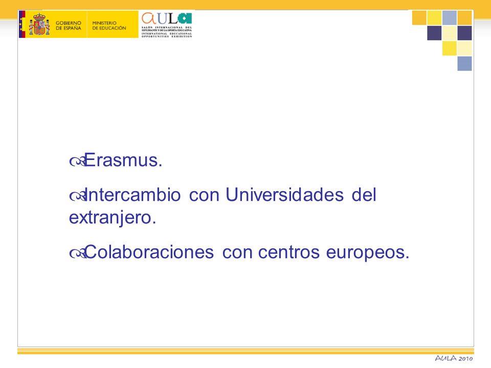 Erasmus. Intercambio con Universidades del extranjero. Colaboraciones con centros europeos.