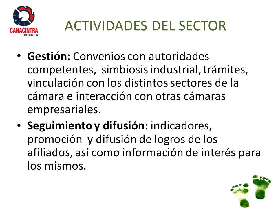 Gestión: Convenios con autoridades competentes, simbiosis industrial, trámites, vinculación con los distintos sectores de la cámara e interacción con