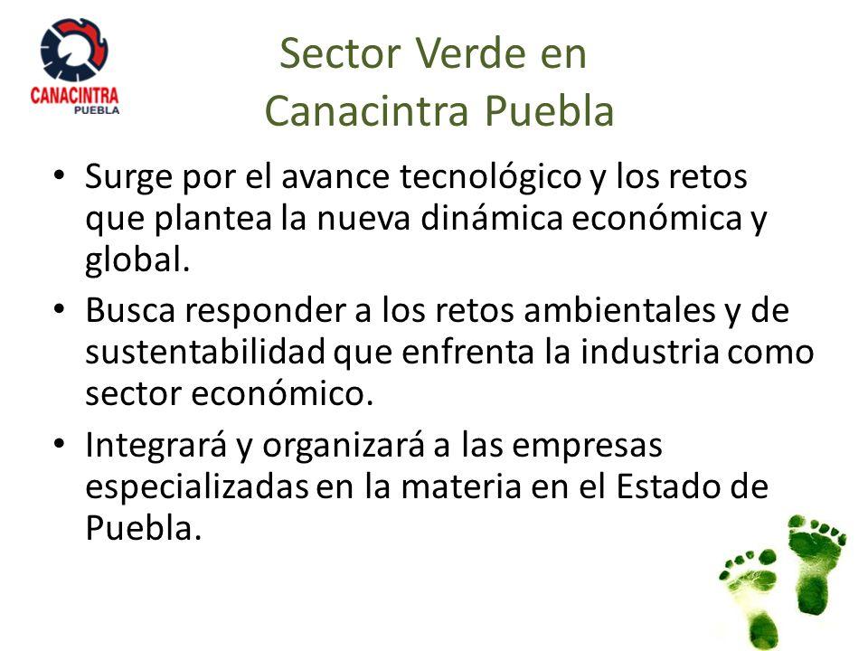 Sector Verde en Canacintra Puebla Surge por el avance tecnológico y los retos que plantea la nueva dinámica económica y global. Busca responder a los
