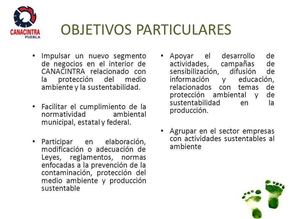 OBJETIVOS PARTICULARES Impulsar un nuevo segmento de negocios en el interior de CANACINTRA relacionado con la protección del medio ambiente y la suste