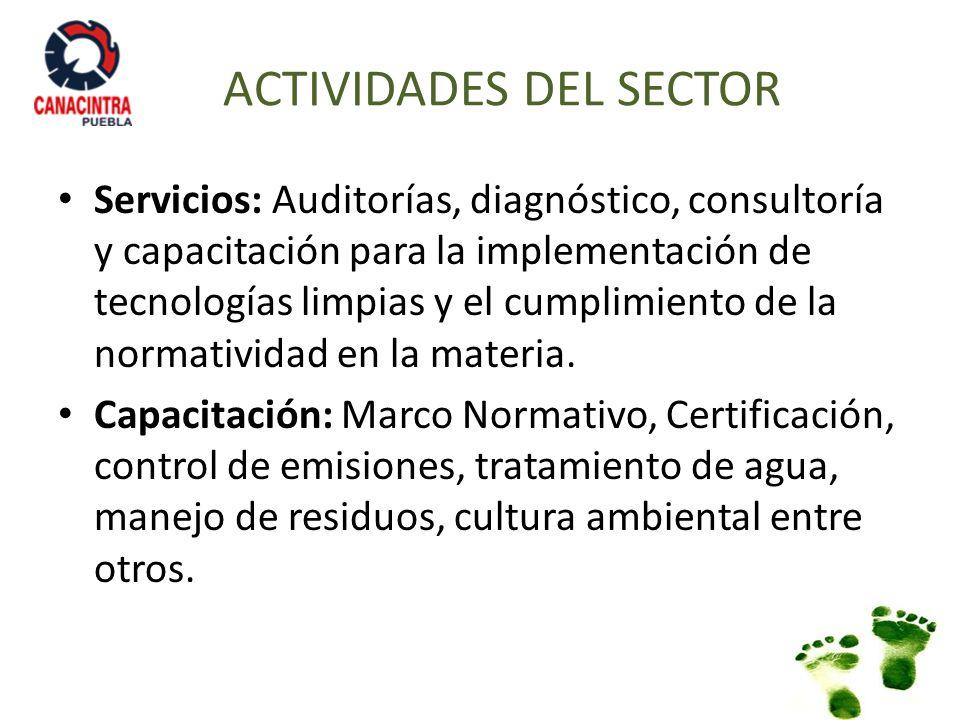 Servicios: Auditorías, diagnóstico, consultoría y capacitación para la implementación de tecnologías limpias y el cumplimiento de la normatividad en l