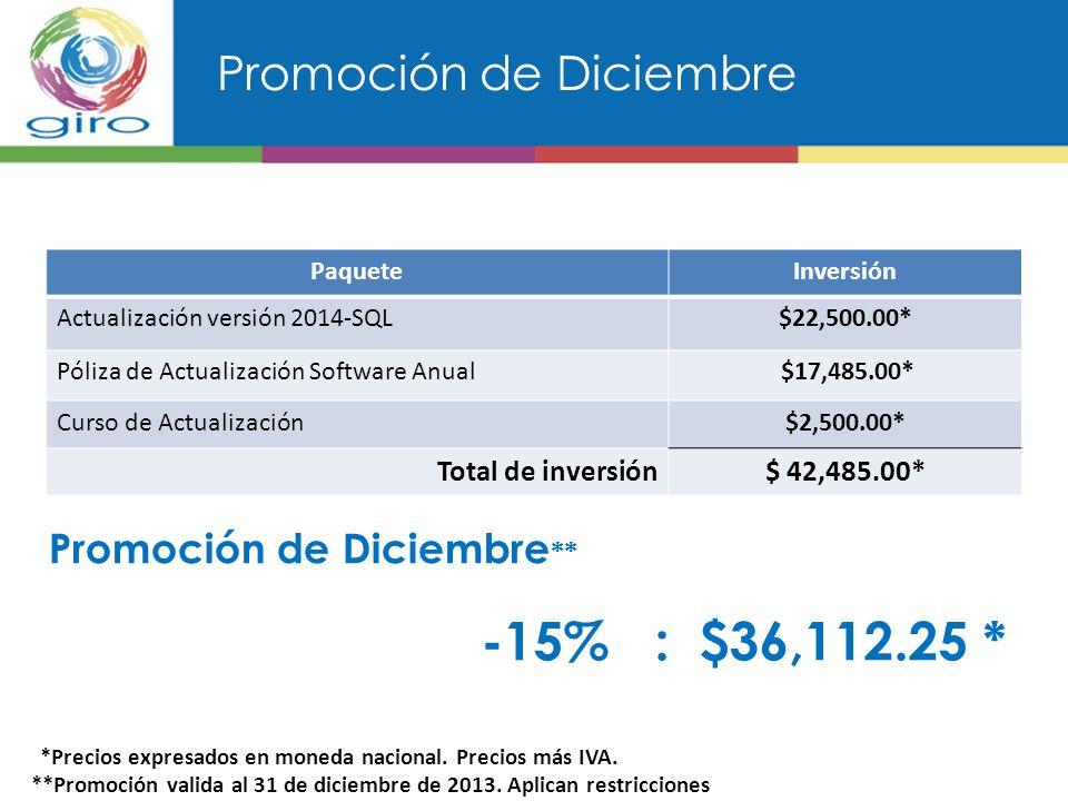 Promoción de Diciembre PaqueteInversión Actualización versión 2014-SQL$22,500.00* Póliza de Actualización Software Anual $17,485.00* Curso de Actualización$2,500.00* Total de inversión$ 42,485.00* *Precios expresados en moneda nacional.