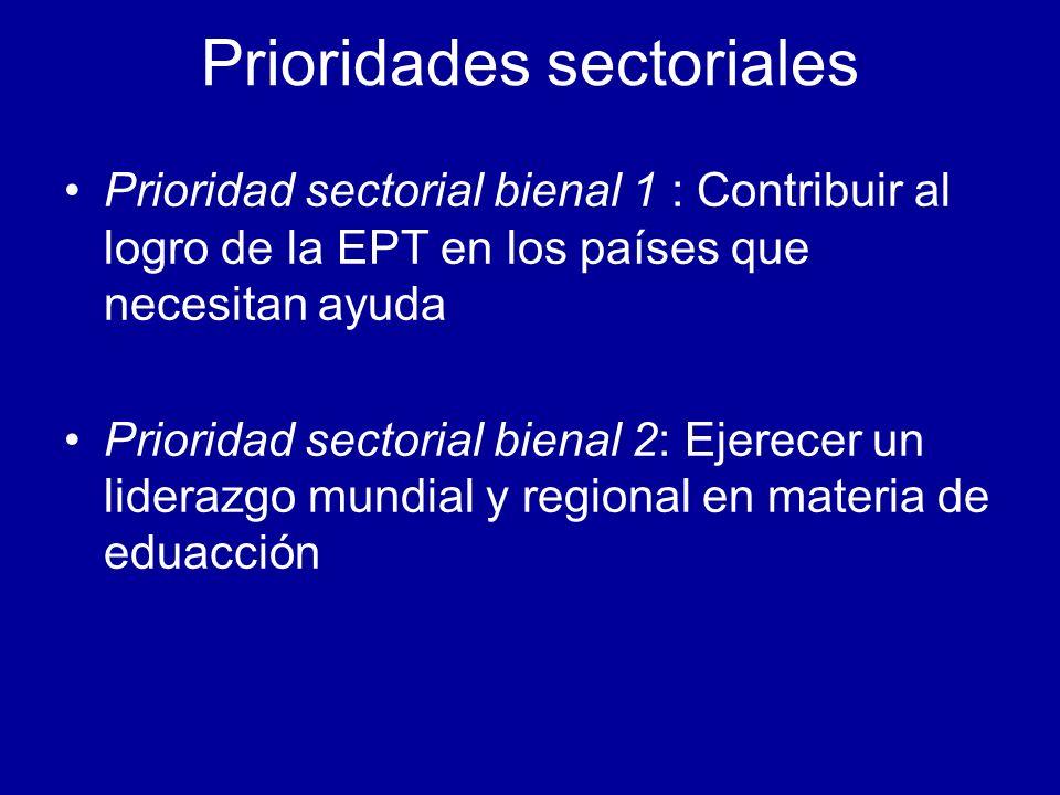 Prioridades sectoriales Prioridad sectorial bienal 1 : Contribuir al logro de la EPT en los países que necesitan ayuda Prioridad sectorial bienal 2: Ejerecer un liderazgo mundial y regional en materia de eduacción