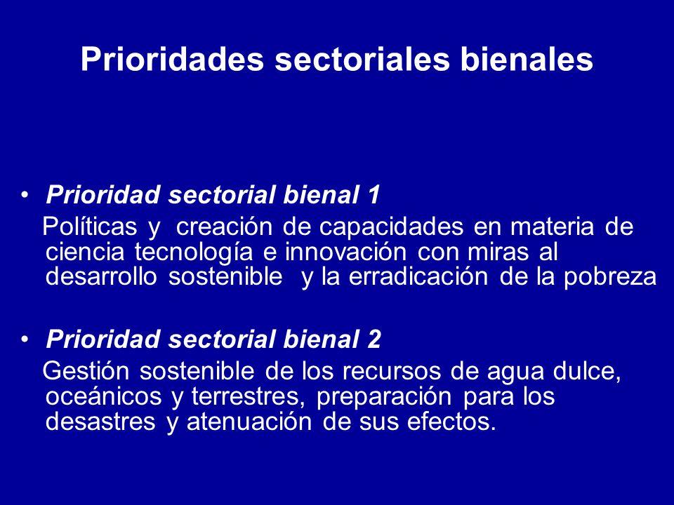 Prioridades sectoriales bienales Prioridad sectorial bienal 1 Políticas y creación de capacidades en materia de ciencia tecnología e innovación con miras al desarrollo sostenible y la erradicación de la pobreza Prioridad sectorial bienal 2 Gestión sostenible de los recursos de agua dulce, oceánicos y terrestres, preparación para los desastres y atenuación de sus efectos.