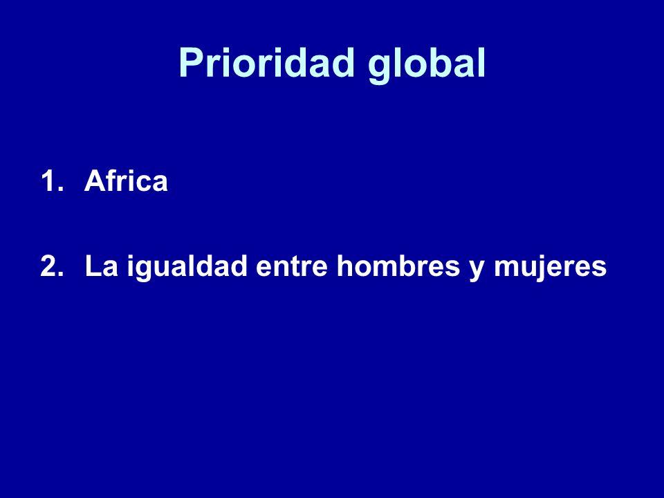 Prioridad global 1.Africa 2.La igualdad entre hombres y mujeres