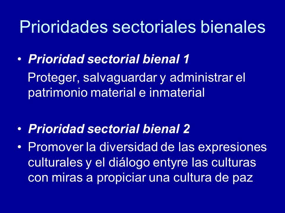 Prioridades sectoriales bienales Prioridad sectorial bienal 1 Proteger, salvaguardar y administrar el patrimonio material e inmaterial Prioridad sectorial bienal 2 Promover la diversidad de las expresiones culturales y el diálogo entyre las culturas con miras a propiciar una cultura de paz