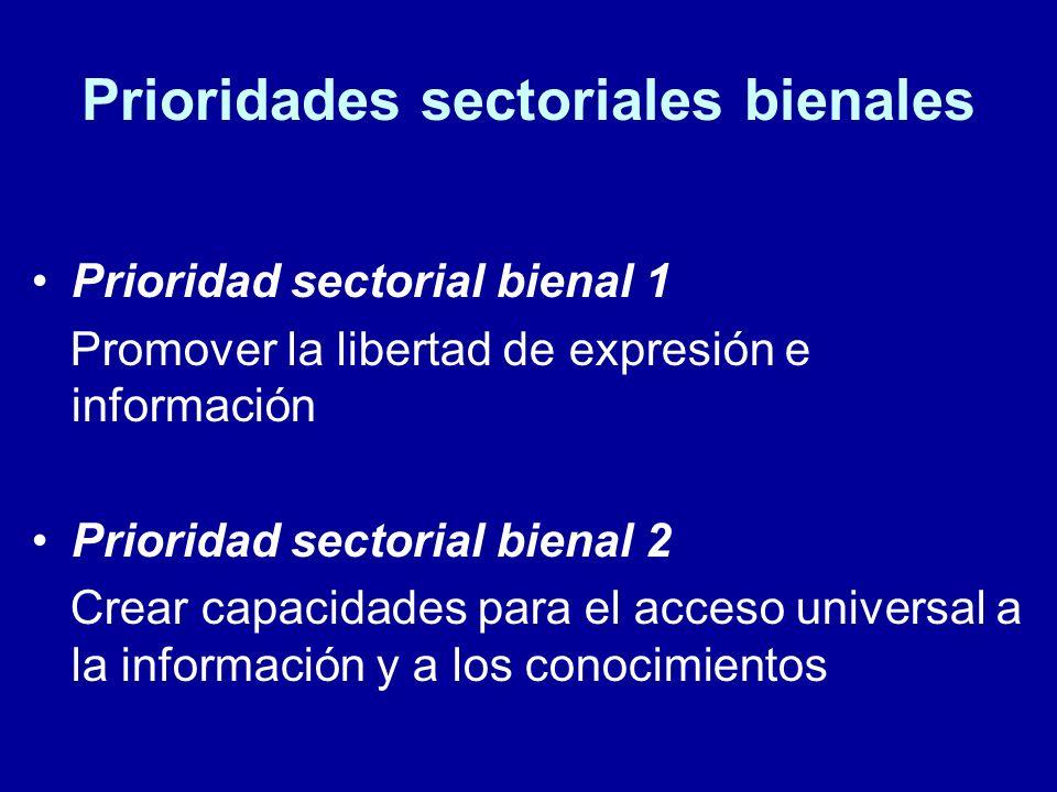 Prioridades sectoriales bienales Prioridad sectorial bienal 1 Promover la libertad de expresión e información Prioridad sectorial bienal 2 Crear capacidades para el acceso universal a la información y a los conocimientos