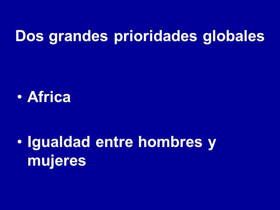 Dos grandes prioridades globales Africa Igualdad entre hombres y mujeres