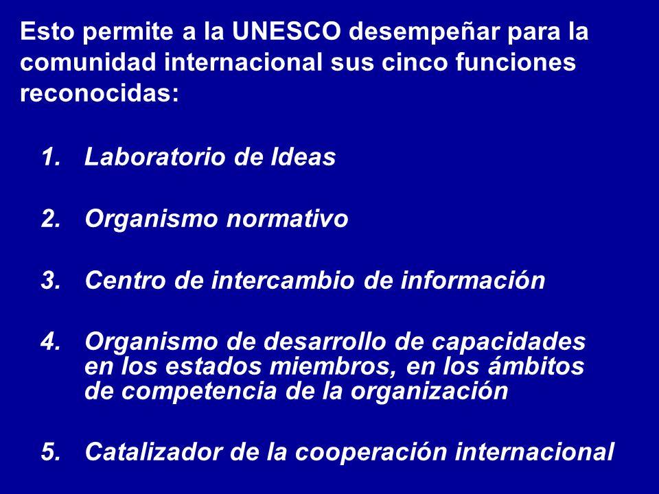Esto permite a la UNESCO desempeñar para la comunidad internacional sus cinco funciones reconocidas: 1.Laboratorio de Ideas 2.Organismo normativo 3.Centro de intercambio de información 4.Organismo de desarrollo de capacidades en los estados miembros, en los ámbitos de competencia de la organización 5.Catalizador de la cooperación internacional