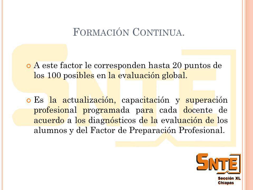 Sección XL Chiapas ¿C ÓMO SE ACREDITARÁ CADA FACTOR .