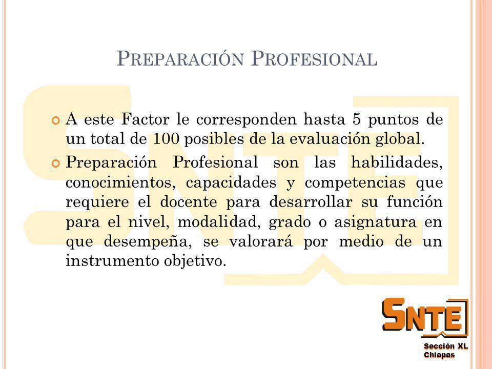 Sección XL Chiapas A CTIVIDADES C OCURRICULARES A éste Factor le corresponden hasta 20 puntos de un total de 100 posibles en la evaluación global.