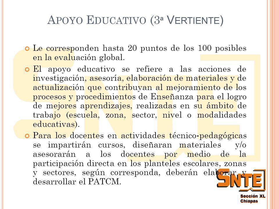 Chiapas G ESTIÓN E SCOLAR (2 ª V ERTIENTE ) Le corresponden hasta 10 puntos de los 100 posibles en la evaluación global.