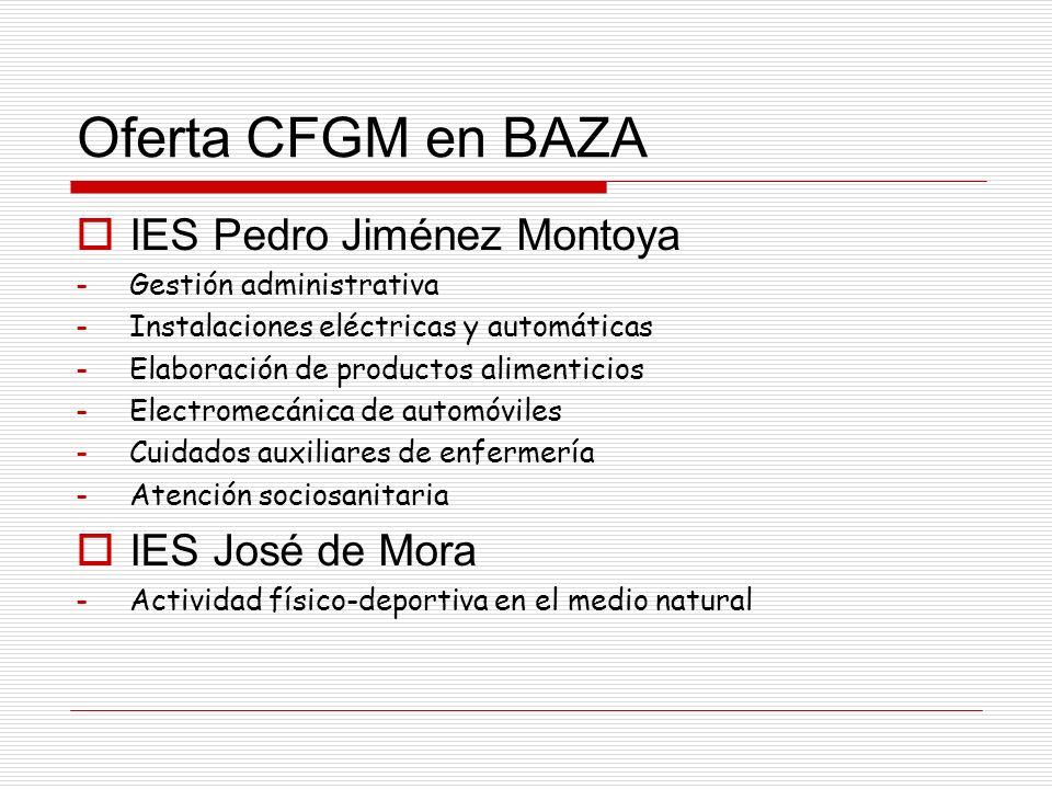 Oferta CFGM en BAZA IES Pedro Jiménez Montoya -Gestión administrativa -Instalaciones eléctricas y automáticas -Elaboración de productos alimenticios -Electromecánica de automóviles -Cuidados auxiliares de enfermería -Atención sociosanitaria IES José de Mora -Actividad físico-deportiva en el medio natural