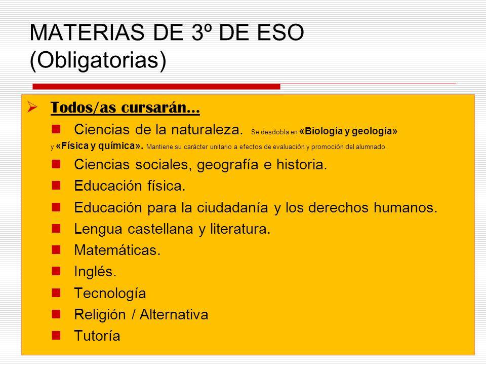 MATERIAS DE 3º DE ESO (Obligatorias) Todos/as cursarán… Ciencias de la naturaleza.
