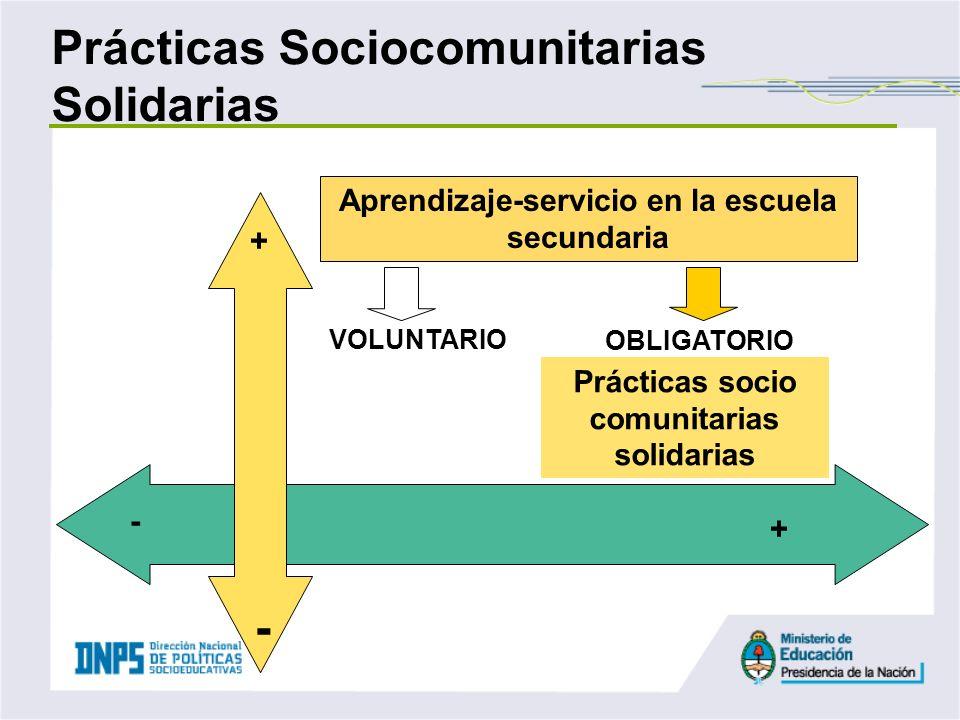 Aprendizaje-servicio en la escuela secundaria Prácticas socio comunitarias solidarias VOLUNTARIO OBLIGATORIO Prácticas Sociocomunitarias Solidarias +