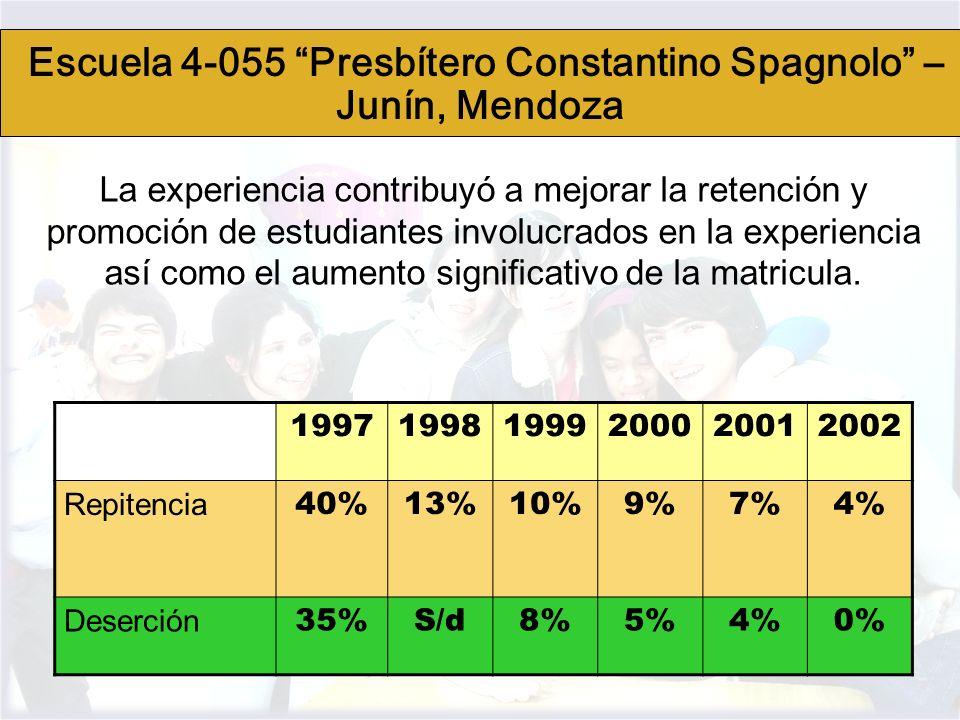 La experiencia contribuyó a mejorar la retención y promoción de estudiantes involucrados en la experiencia así como el aumento significativo de la mat