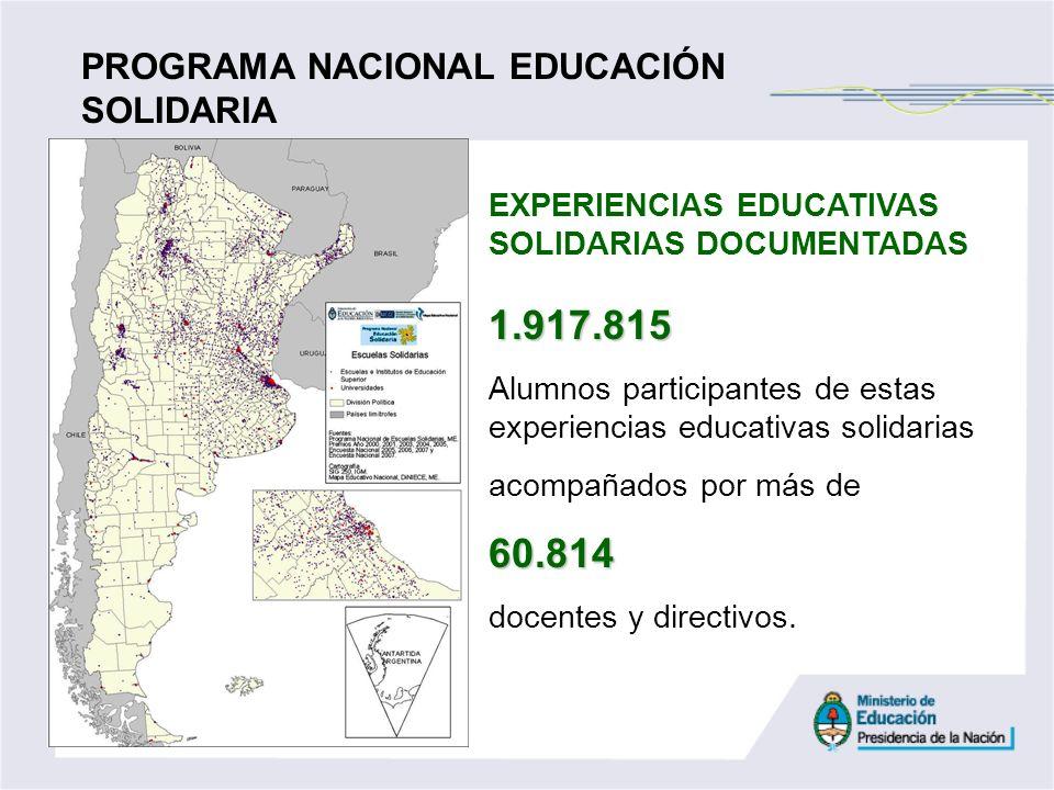 EXPERIENCIAS EDUCATIVAS SOLIDARIAS DOCUMENTADAS1.917.815 Alumnos participantes de estas experiencias educativas solidarias acompañados por más de60.81