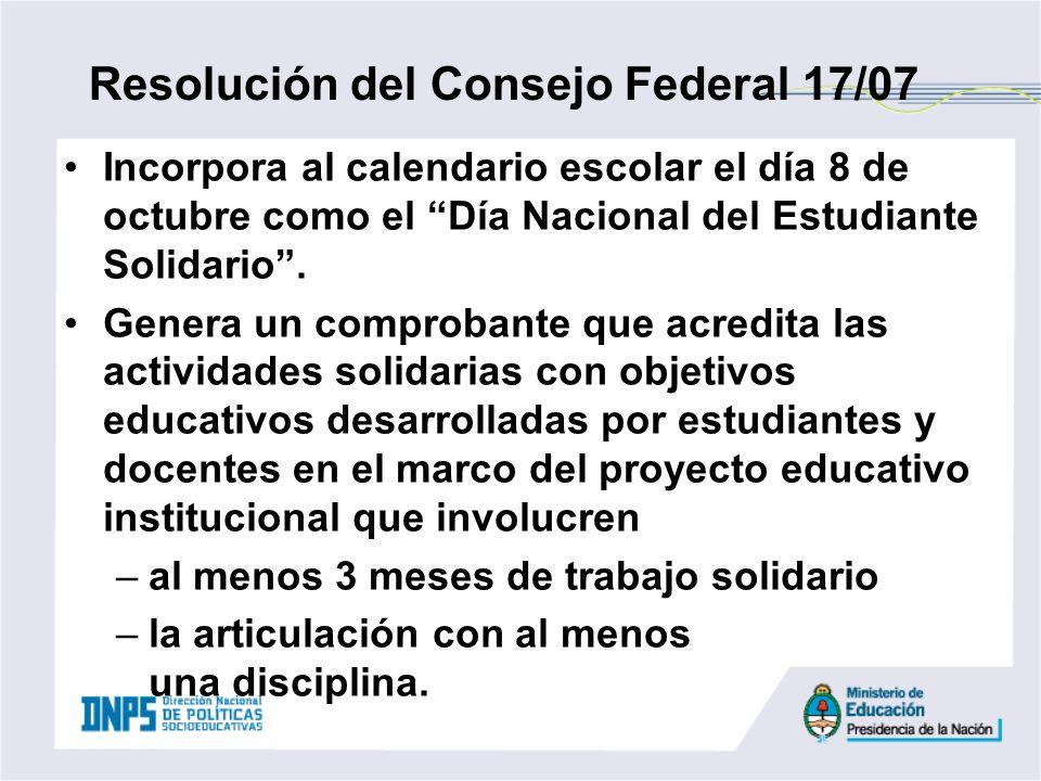 Incorpora al calendario escolar el día 8 de octubre como el Día Nacional del Estudiante Solidario. Genera un comprobante que acredita las actividades